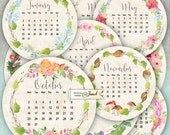 12 months - Calendar 2017 - 2.5 inch circles - set of 12 - digital collage sheet - pocket mirrors, tags, scrapbooking, cupcake toppers