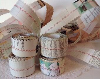 Red Thread Paper Ribbon, Handmade Paper Ribbon, Vintage Paper Ribbon, Mixed Paper Ribbon