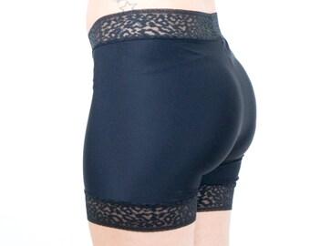 Black Biker Shorts Leopard Lace Trim Modesty Shorts