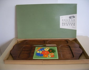 60's Retro, Vintage ,Flowered Tile Serving Tray ,Hostess Server