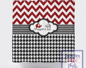 Chevron and Houndstooth Elephant Shower Curtain - Maroon and Black Shower Curtain - Elephant Shower Curtain