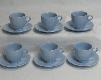 Vintage Set of 6 Johnson Brothers Wedgwood Blue Demitasse Cups & Saucers England Mid Century Modern Tea Party