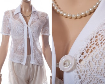 Unusual really girlie 1970's vintage white stretchy openwork crochet effect lace detail collared short sleeve button front cardigan - DB217