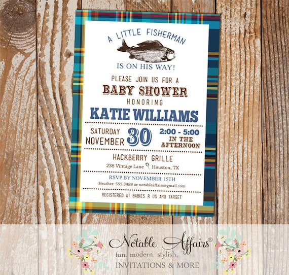 Fish Themed Baby Shower Invitations: Blues And Greens Plaid Vintage Fish Little Fisherman Baby