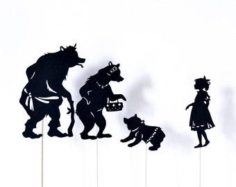 Goldilocks and the Three Bears: Full Shadow Puppet Set