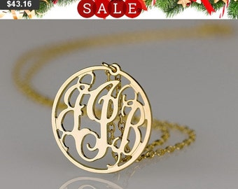 Monogram necklace -1.25 inch Personalized Monogram - 925 Sterling silver 18k Gold Plated