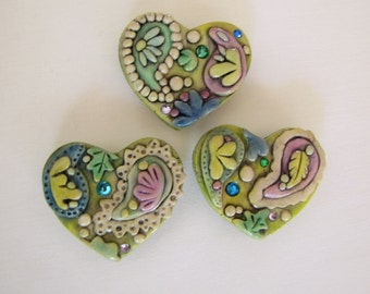 Jeweled Rustic Paisley Hearts Magnets, set of 3, polymer clay Hearts, Heart Magnets