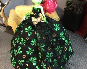 St Patricks Day Doll Dress with Shamrock and Horseshoe for your Monster High Girl Doll - Monster High Doll Dress