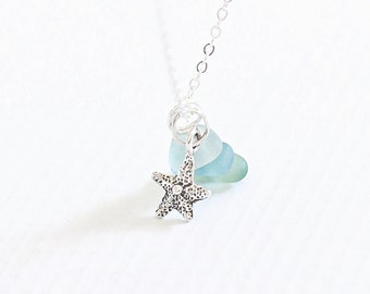 Seafoam Sea Glass Pendant, Dainty Starfish and Beach Glass Necklace