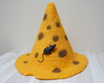 Cheese and mouse Halloween Wizard Witch hat yellow felted with sauna cap tribal festival New year Christmas carnival gnome show costume