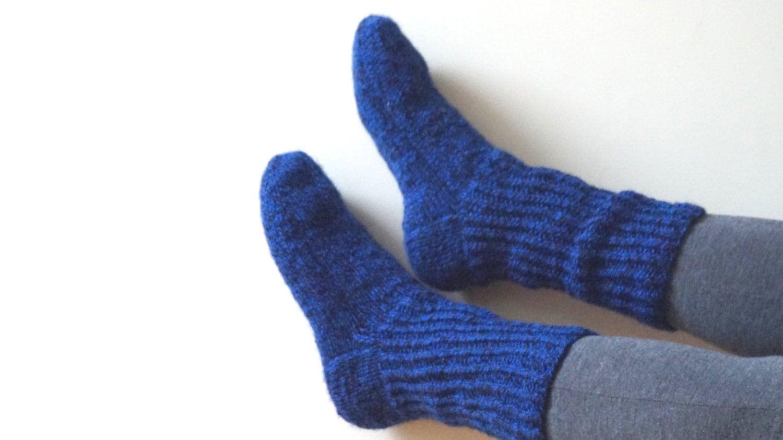 Wool Men Socks Hand Knitted Leg Warmers Stockings Size 8 UK