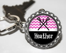Personalized Hot Pink Lacrosse bottlecap keychain 15 color choices lacrosse mom, lacrosse team gift high school varsity jv travel LAX gift