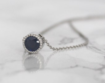 Cornflower Blue Sapphire Milgrain Bezel Necklace in 14K White Gold