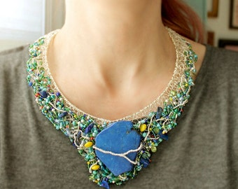 Bib Necklace Silver, Blue Stone Jewelry, Silver Wire Necklace, Glass Bead Jewelry, Lapis Beads, Magnesite, One of a Kind Artemissa Designs