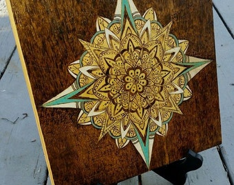 Mandala woodburned wall hanging