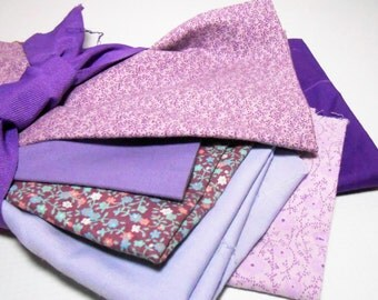Vintage Fabric Scraps, Purple, Mixed, Floral, Scrap Fabric, Quilts, Patchwork, Crafts Supplies, Remnant Fabric, Sewing Supplies, Destash