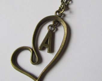 Antique Bronze Heart Necklace - Personalized Necklace- Initial  -  Handmade Jewelry