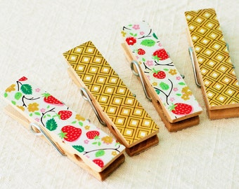 Strawberry Summer Clothespins Bag Clips Wide