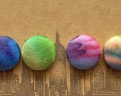 Button Earrings / Wholesale Jewelry / Set of 2 / Fabric Covered / Small Gifts / Stud Earrings / Tie Dye / Mix and Match