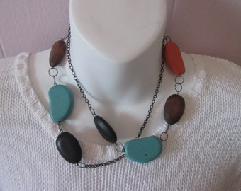 Necklace with colored wooden beads