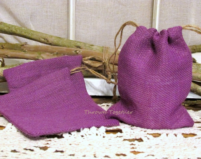 Purple Burlap Party Favor Bags, Burlap Gift Bags, Purple Wedding Favors, Rustic Favor Bags, Purple Favor Bag, Set of 5 Handmade Gift Bags