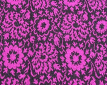 Vintage Double Knit Purple Flower Jersey Fabric, Black Purple Floral 1970s Polyester Knit Mod Fabric, 1 1/2 yard