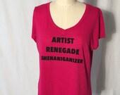 Artist Renegade Shenaniganizer Upcycled Tee size 1X