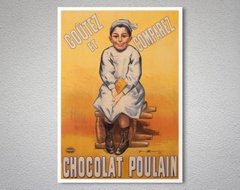 Chocolat Poulain Vintage Food&Drink Poster by Firmin Bouisset -  Poster Paper, Sticker or Canvas Print / Gift Idea