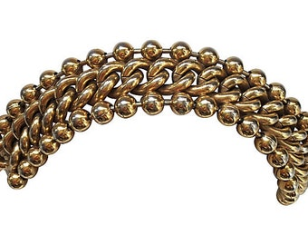 1980s French Gold Tone Link Bracelet