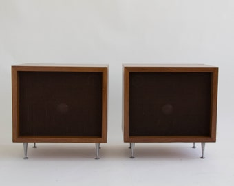 Pair of Walnut JBL Baron C38 Speakers Designed by Alvin Lustig