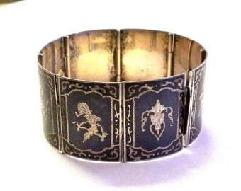 Vintage Niello Silver Enameled Siam Bracelet