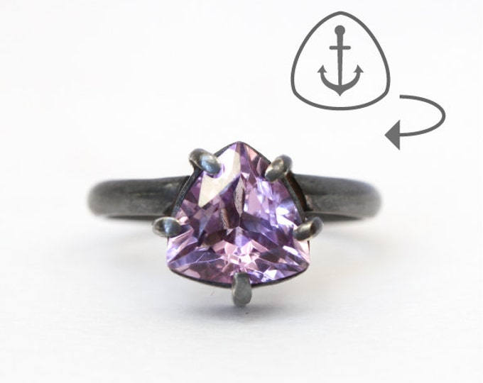 Amethyst trillion ring - anchor open back - silver and amethyst
