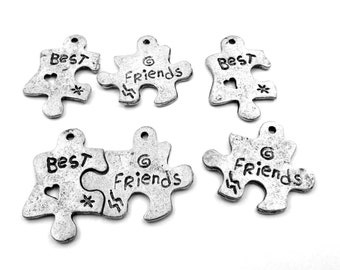 Three (3) Pair of Best Friends Pewter Puzzle Piece Charms - 5055