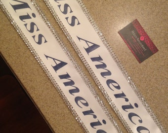 Halloween Miss America sash, custom Sash,Wedding Sash Prom King, Prom Queen, Miss America, Beauty Queen,Miss USA Any Color any wording