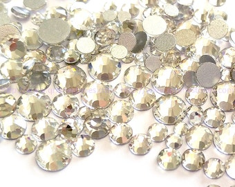 500pcs Assorted Size Flat Back Crystal Rhinestones in Supreme Quality