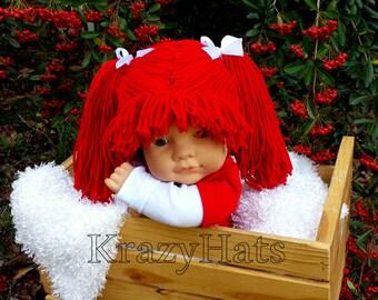 Crochet Red Cabbage Patch.Crochet hat.Crochet wig hat.