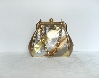Vintage gold purse - gold silver and bronze handbag - vintage Dents gold purse - vintage Dents metallic leather handbag with chain