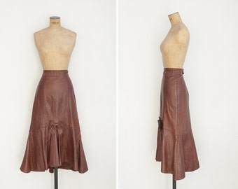 1980s Skirt - Vintage 80s Brown Ruffle Leather Skirt - Le Dessert Skirt