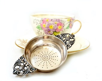 SALE Vintage Tea Strainer Silver 800,Two Handled Tea Strainer Silver,Solid Silver 800 Tea Infuser,Tea Party Gifts.