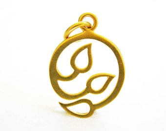 Final Markdown Charm Holder Whimsical Sprout  24mm 1 pc Gold over Sterling Silver Vermeil Style