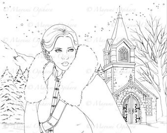 The Land of Enchantment - digital stamp, colouring page, printable, instant download