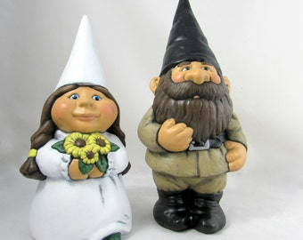 Ceramic Wedding Garden Gnome Set- 14 inch Groom, 11 inch bride, hand painted lawn or garden gnomes, outdoor or indoor