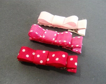 Baby Hair Clips, Pink Tuxedo Bow Hair Clip Set,  Baby Toddler Girl, Barrettes