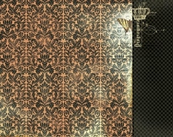 The Looking Glass 12x12 Scrapbook Paper Mad Hatter