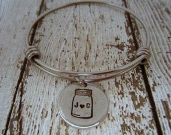 Mason Jar Bracelet, Bridal Shower Gift, Southern Bride Gift, Bridal Shower Gifts, Hand Stamped Bracelet, Barn Wedding, Rustic Wedding