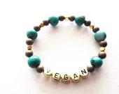 Vegan Bracelet, Vegan Jewelry, Organic Beaded Bracelet, Turquoise Gold Bronze, Vegan Gifts, Eco-Friendly, Organic Jewelry, Plant Based