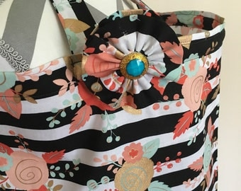 Nursing Cover - mint, coral and gold flowers on black and white stripes print nursing cover with a fabric flower clippie - Ready to ship