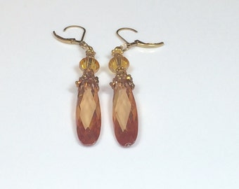 Artisan Cubic ZIRCONIA & SWAROVSKI EARRINGS  - Natural Crystals - Faceted Teardrops - Swarovski Crystals - Gold Vermeil  Beads - Lever