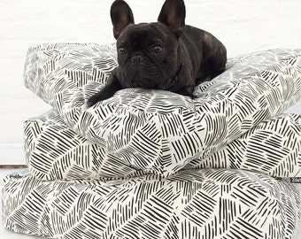 Lines Pattern Floor Cushion - Modern Dog Bed - Pouf Cover - Kiddies Room