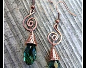 Copper and Green Swarovski Crystal  Dangle Earrings with Hammered Copper Spiral and Bead Caps